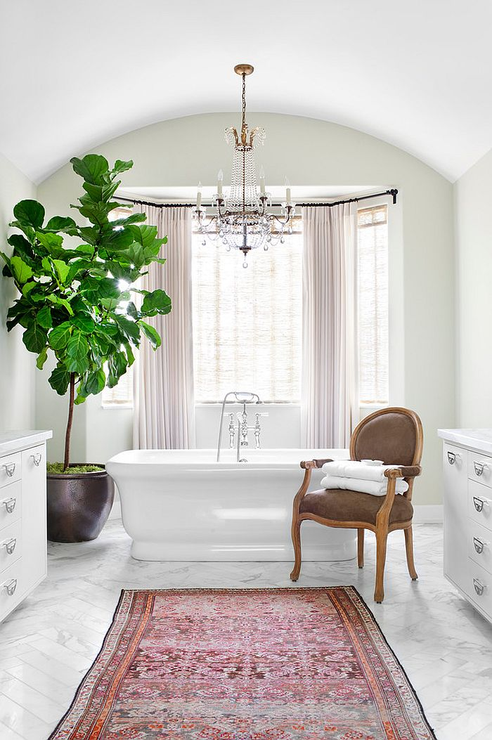 Add a hint of natural greenery to the modern bathroom