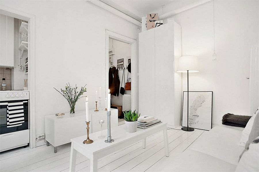 All-white living space with decor also in white