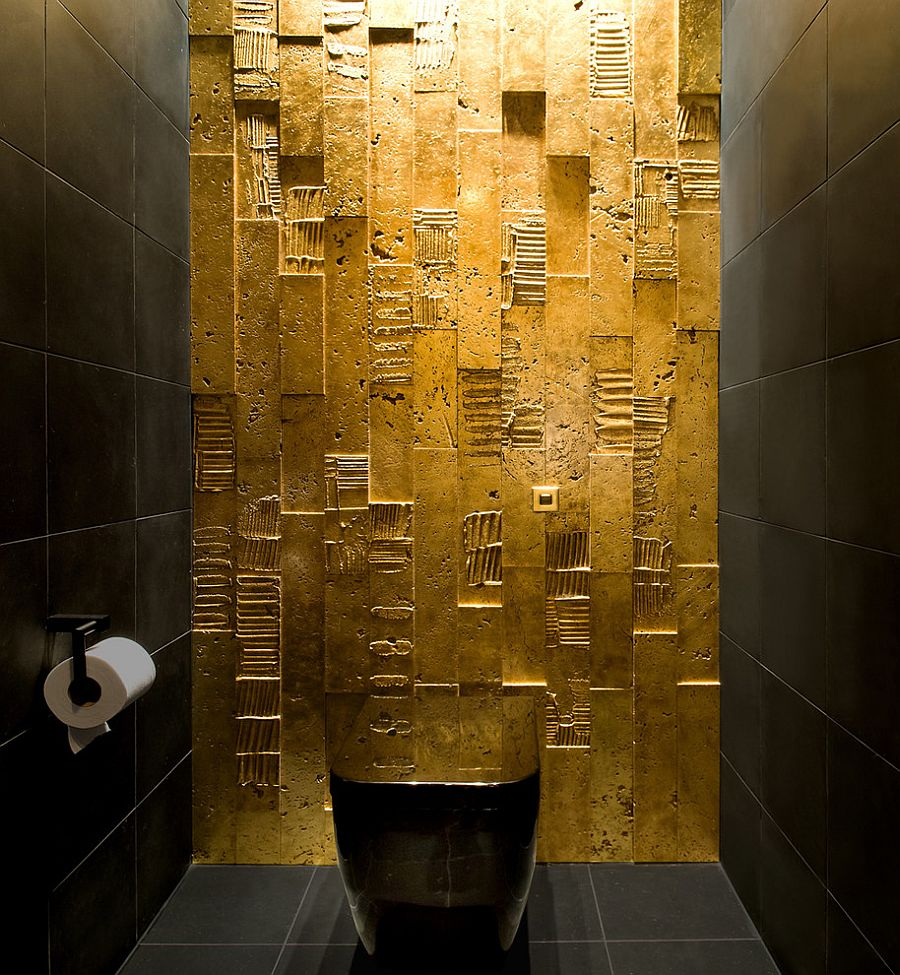 ... All You Need Is Some Gold Paint To Create Magic In The Dark Bathroom! [
