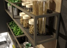Aluminum-shelves-and-laminate-oak-paneling-shape-the-stylish-wall-mounted-kitchen-shelf-217x155