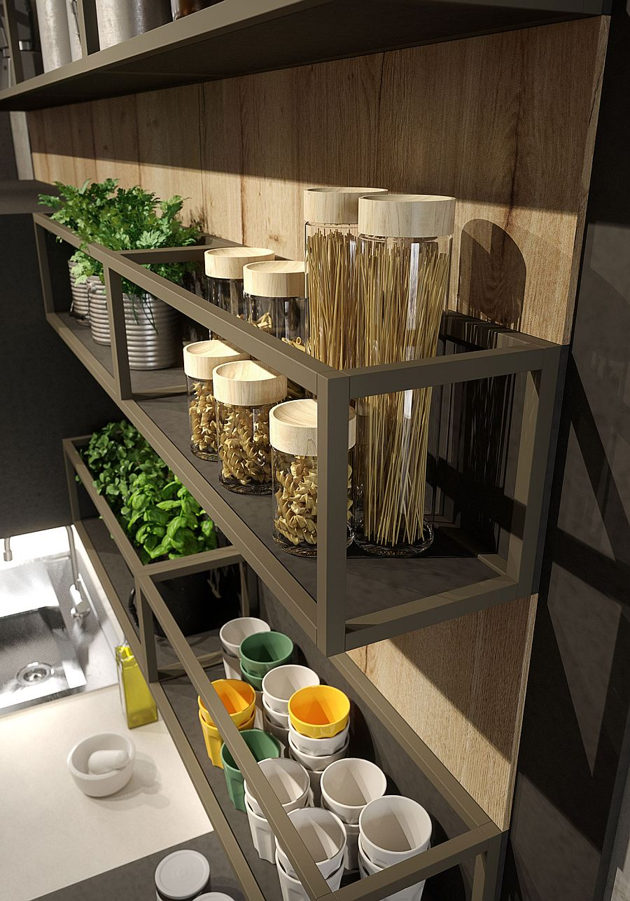 Aluminum shelves and laminate oak paneling shape the stylish wall-mounted kitchen shelf
