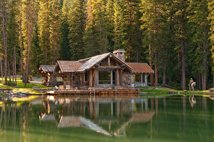 Idyllic headwaters camp cabin by dan joseph architects for Log cabin retreat