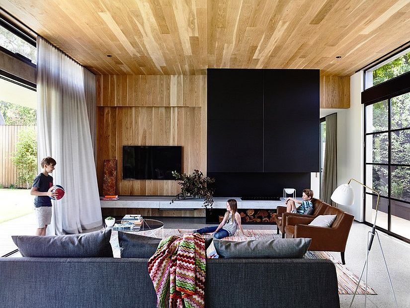 American oak wall and ceiling adds warmth to the living area
