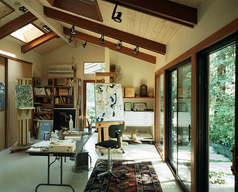 ... Art Studio And Home Office Connected With The Outdoors Through Glass  Doors [Design: Ron