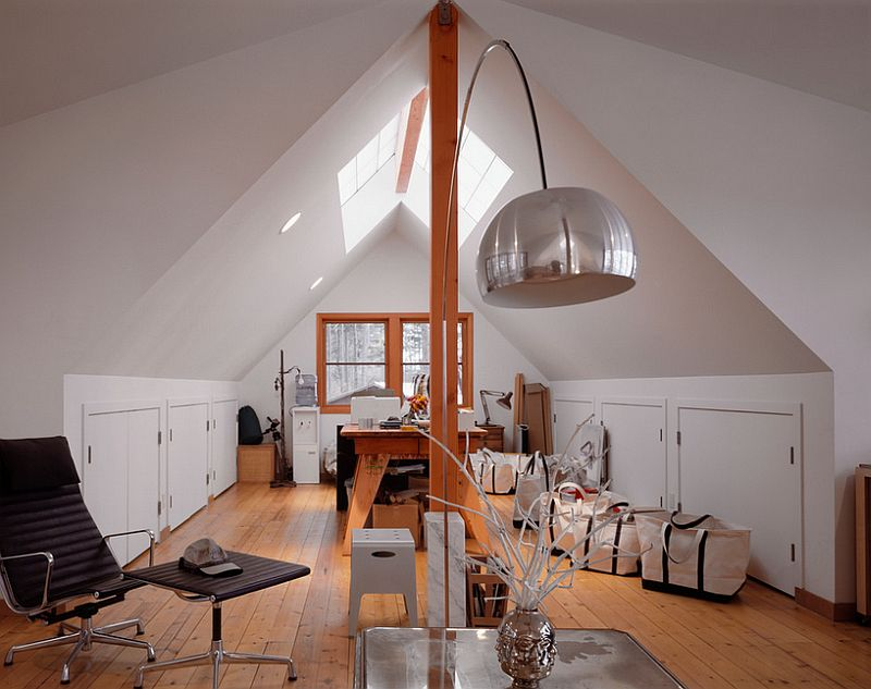 Attic home office with ample space and natural light [Design: Lawrence Architecture]