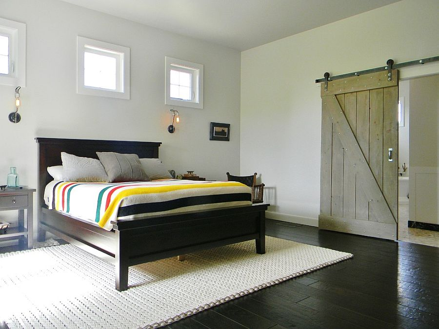 Barn door connects the bedroom with the bathroom [Photography: Kimberley Bryan]