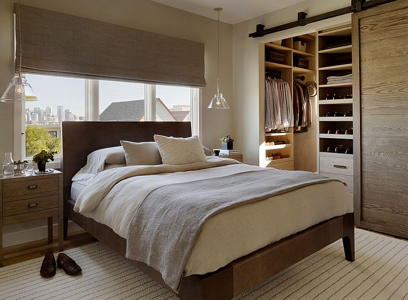 Barn-style sliding door for the walk-in closet [Design: Jute Interior Design]