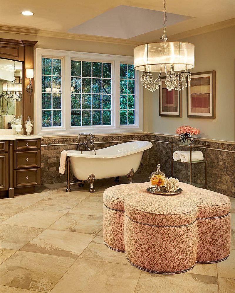 Bathroom sconces complement the oversized crystal and shade chandelier [Design: Driggs Designs]