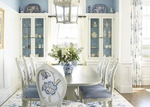 Beach style dining room in classy blue and white