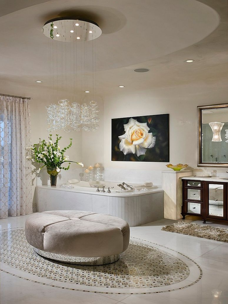 View in gallery Beautiful cascading chandelier enlivens the contemporary bathroom [Design: W.A. Bentz Construction]