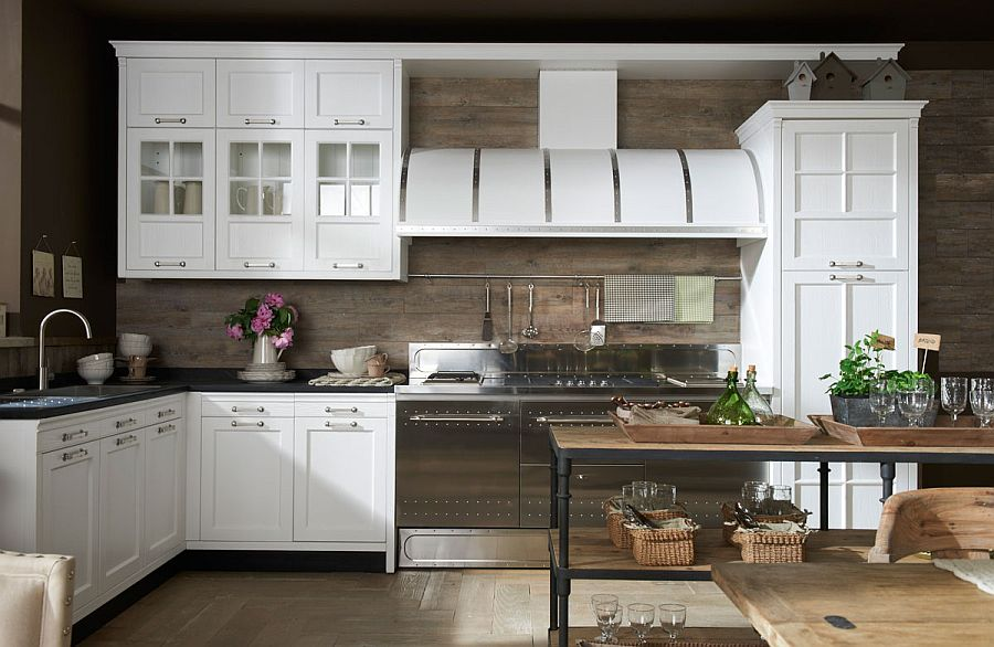 Beautiful wooden backdrop in the classy kitchen
