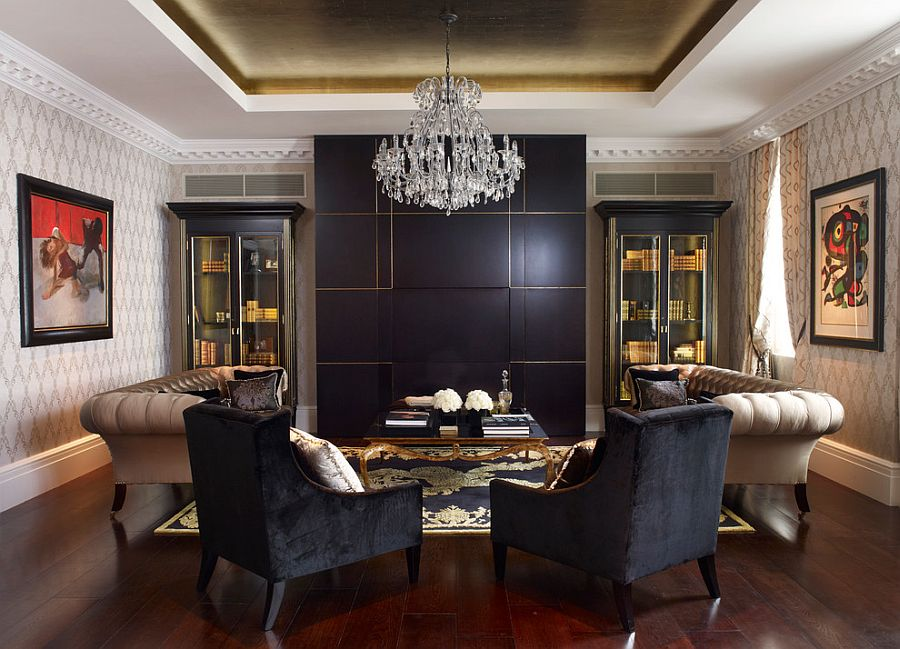 Black and gold coupled with beige in the living room [Design: Oliver Burns]