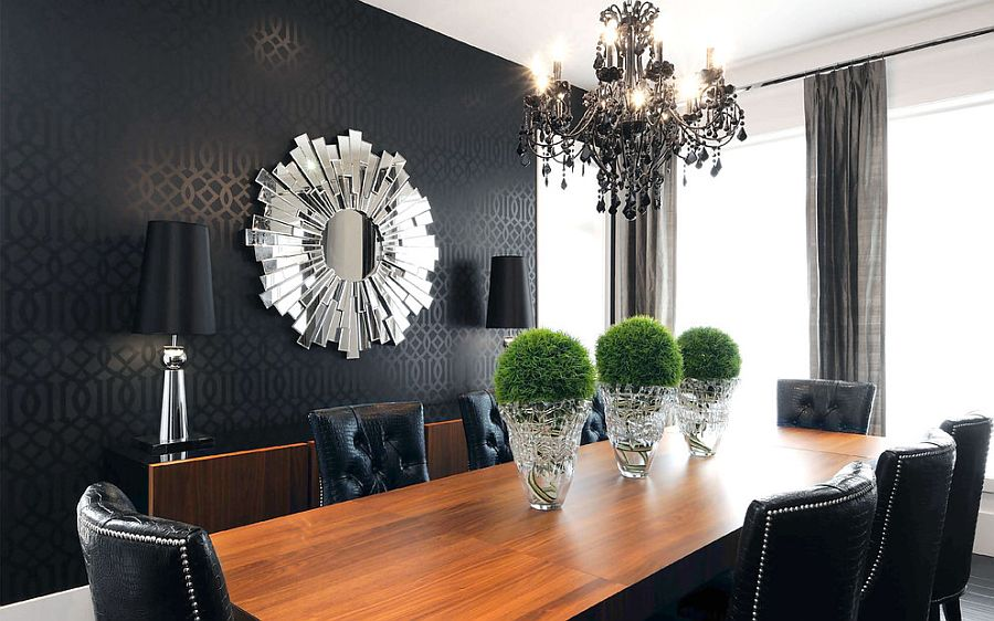 Wallpaper For Dining Room Ideas Part - 20: ... Black Wallpaper Is For Those Who Have A Flair For The Dramatic! [Design:
