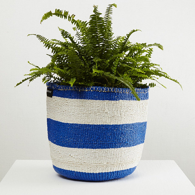 Blue and white basket by Mifuko