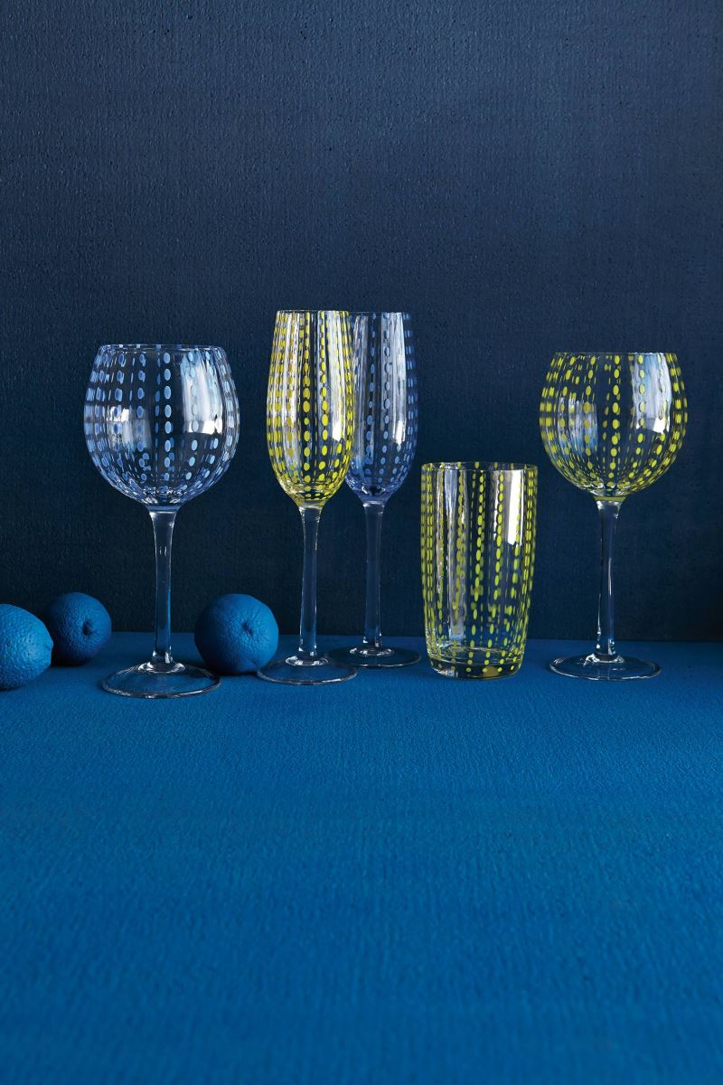 Blue modern tabletop vignette from Anthropologie Modern Tabletop Inspiration for Entertaining