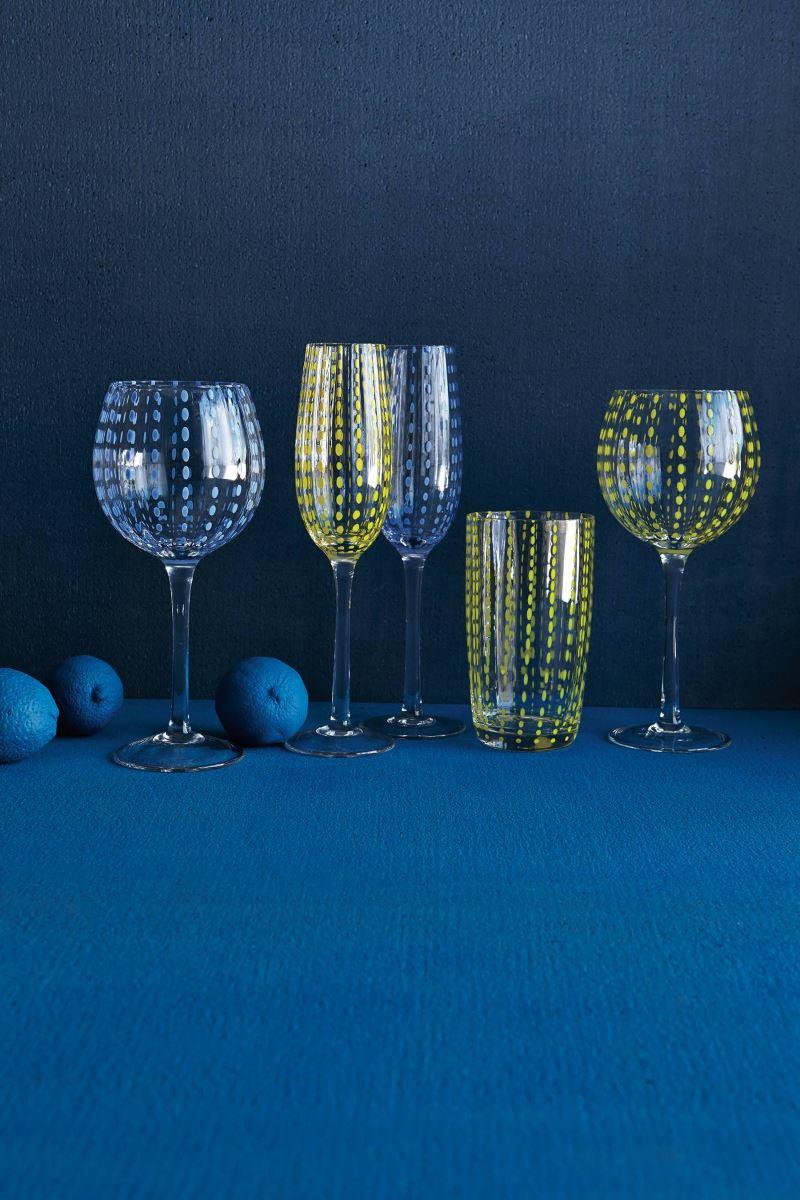 Blue modern tabletop vignette from Anthropologie