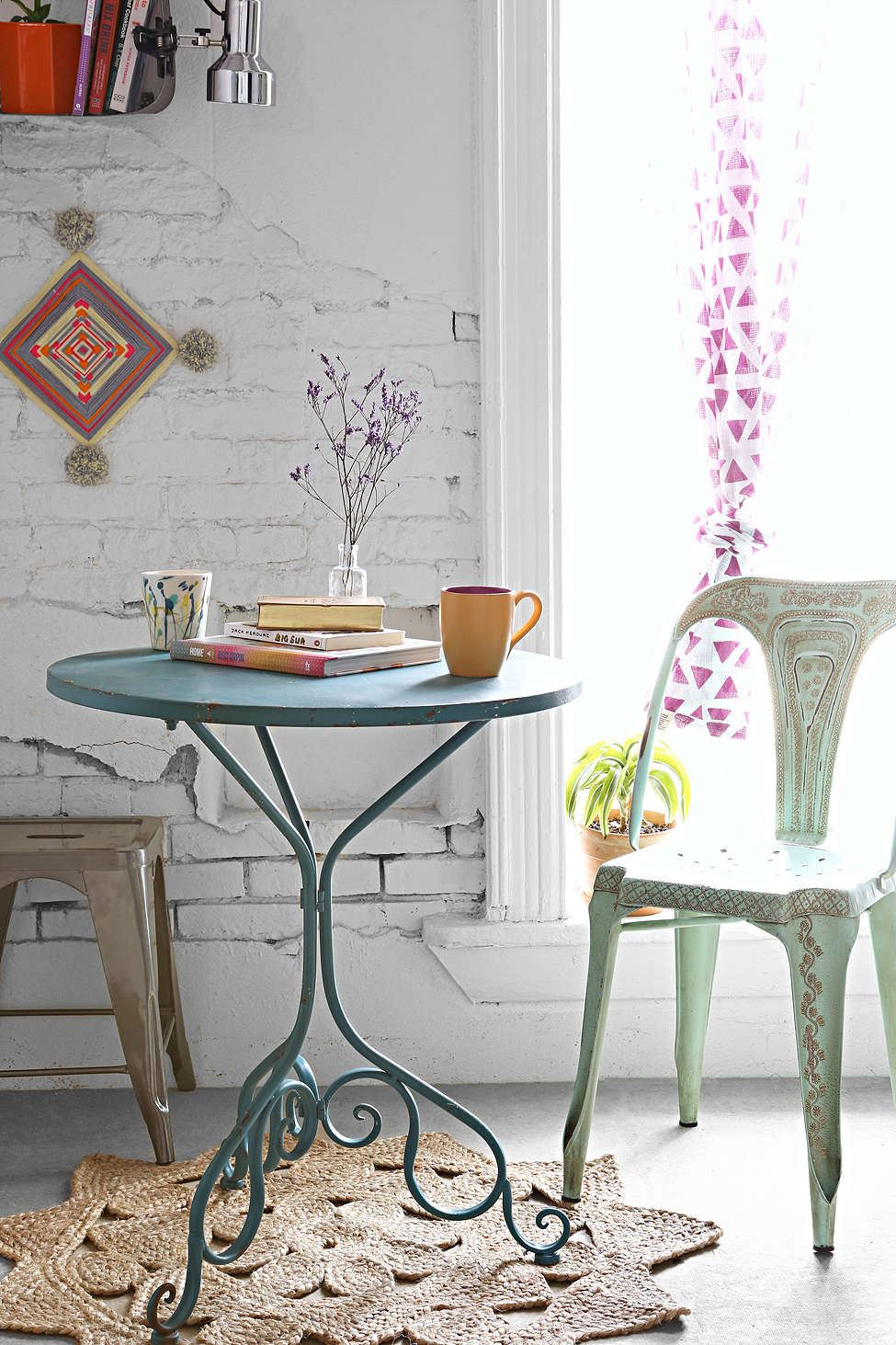 Boho breakfast nook with a bistro table