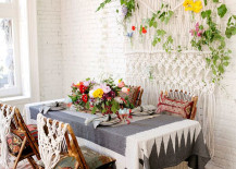 Boho dining room with a macrame wall hanging