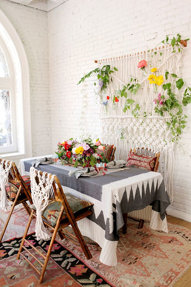 Great View In Gallery Boho Dining Room With A Macrame Wall Hanging