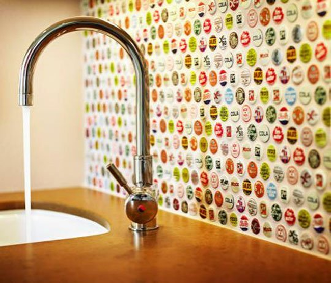 Bottlecap backsplash DIY