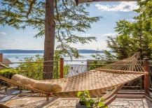 Braided hammock brings tropical flavor to the beach style deck