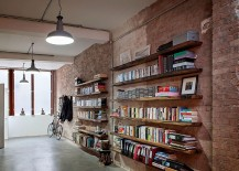 Brick and wood give the interior a charming, relaxed appeal
