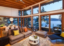 Cabin style design of the retreat with cool ocean views