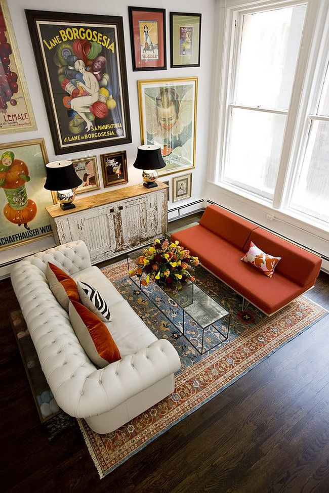 Case Study Daybed in bright orange in an eclectic setting