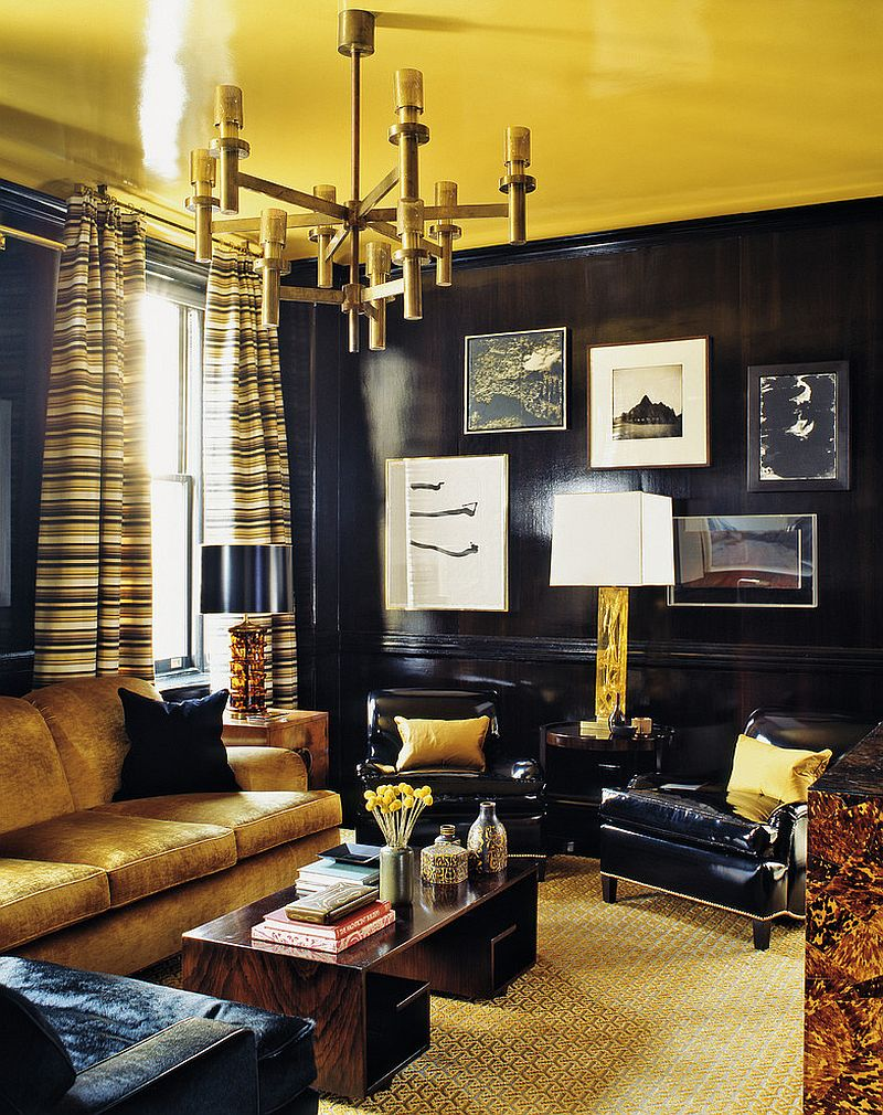 Ceiling also adds golden glint to the living room [Photography by Eric Piaseck]
