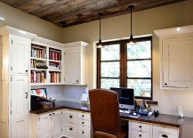 Ceilng design adds to the style of the rustic home office