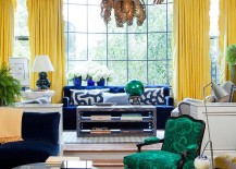 Chairs covered in malachite fabric steal the show in this eclectic living room