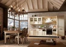 Chandelier lighting and dining space complement the kitchen style