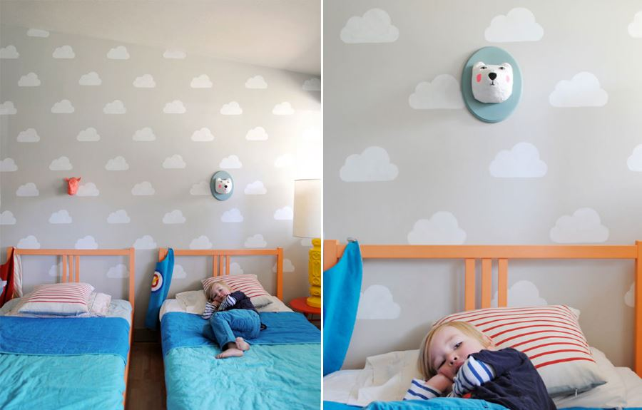 Children's bedroom featuring Handmade Charlotte stencils