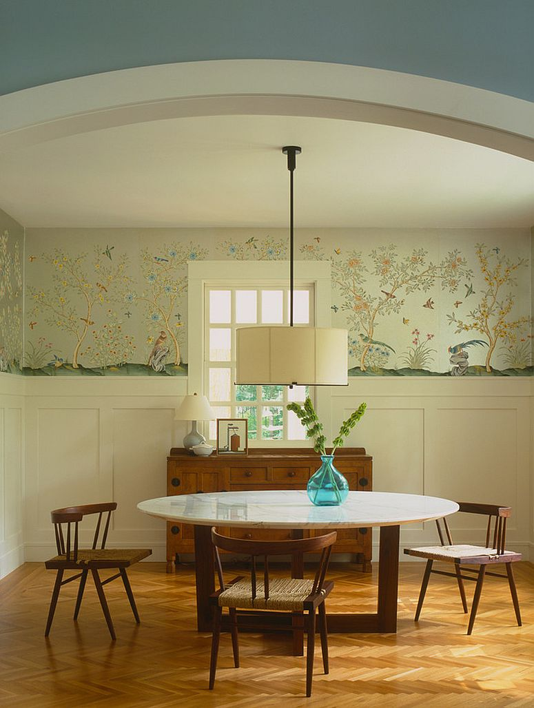 classy use of wallpaper in the dining room design dufner heighes