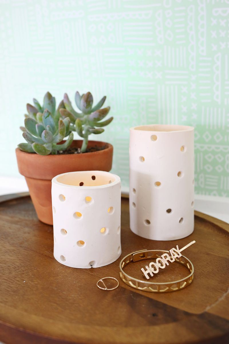 Clay votive DIY from A Beautiful Mess