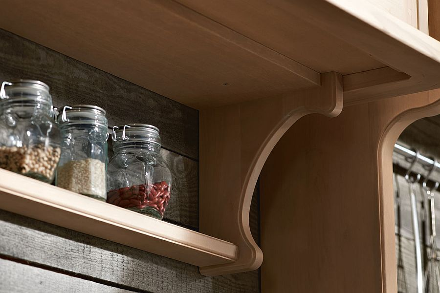 Closer look at the shelves inside the classy kitchen from Marchi