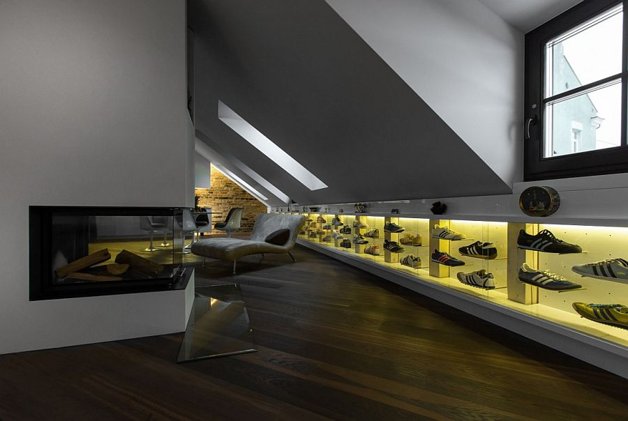 Collection of shoes displayed with elegance in the living room