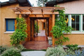 Colorful details surround a trellis  How to Style a Trellis Colorful details surround a trellis 270x180
