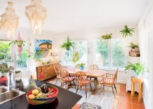 Colorful eclectic dining room with hanging plants