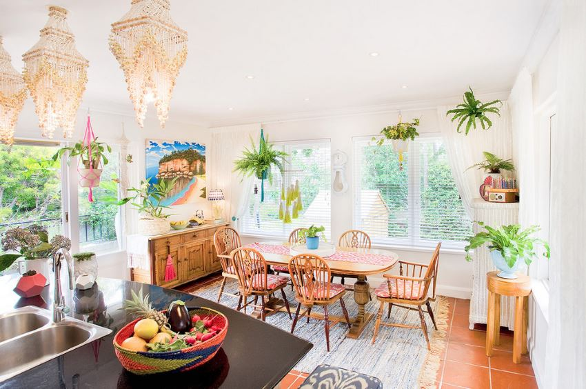 View In Gallery Colorful Eclectic Dining Room With Hanging Plants