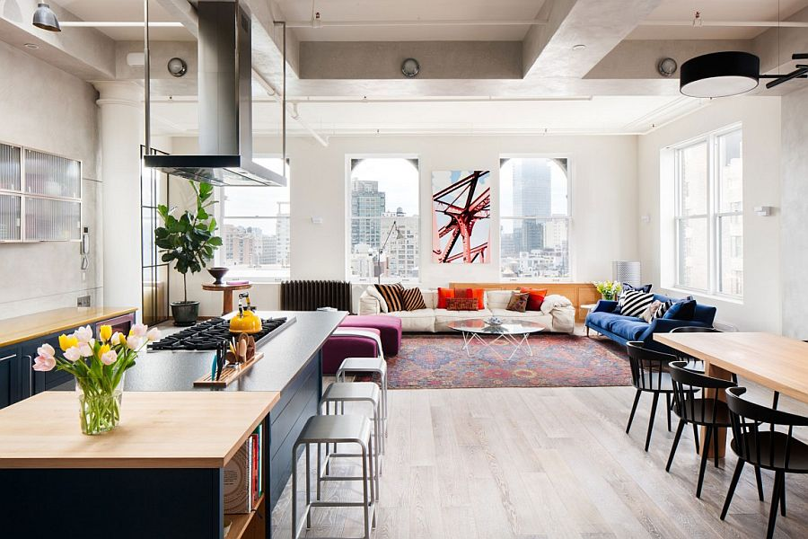 Colorful living room of the stylish New York City Apartment Cheerful Manhattan Loft Unleashes Vivacious Color and Deft Creativity!