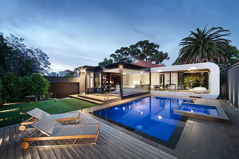 Contemporary addition in the rear of the heritage Melbourne Residence