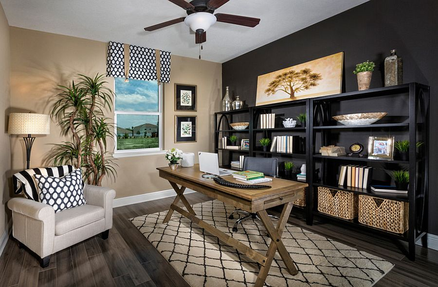 View In Gallery Contemporary And Tropical Styles Meet Inside This Home Office Design MP Studio Interiors