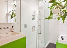 Contemporary bathroom design in lime green and white
