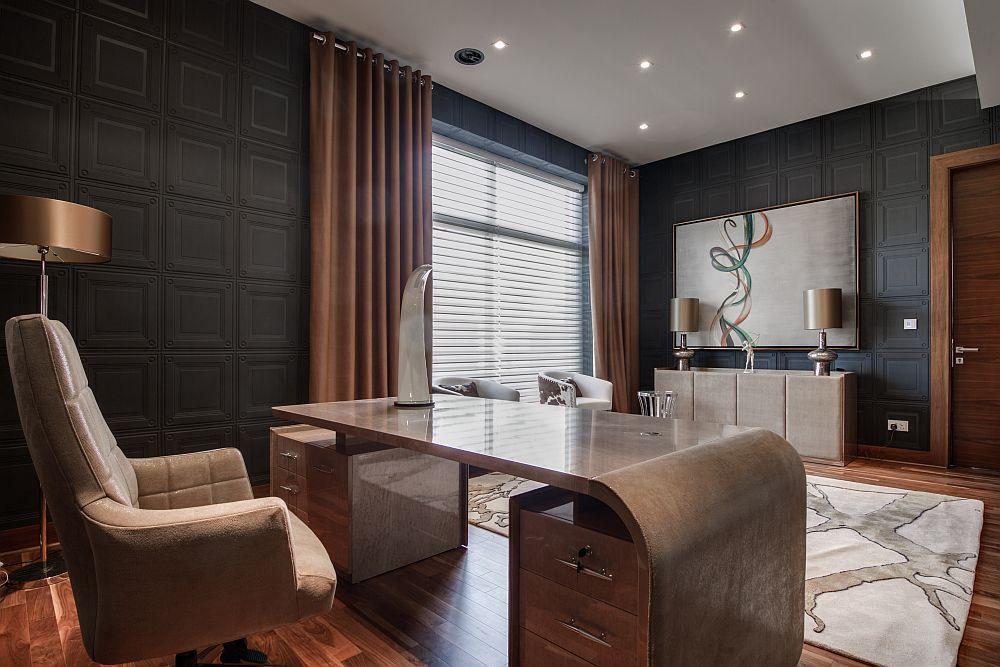 Contemporary home office design in black