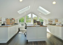 Contemporary home office with gabled roof and skylights