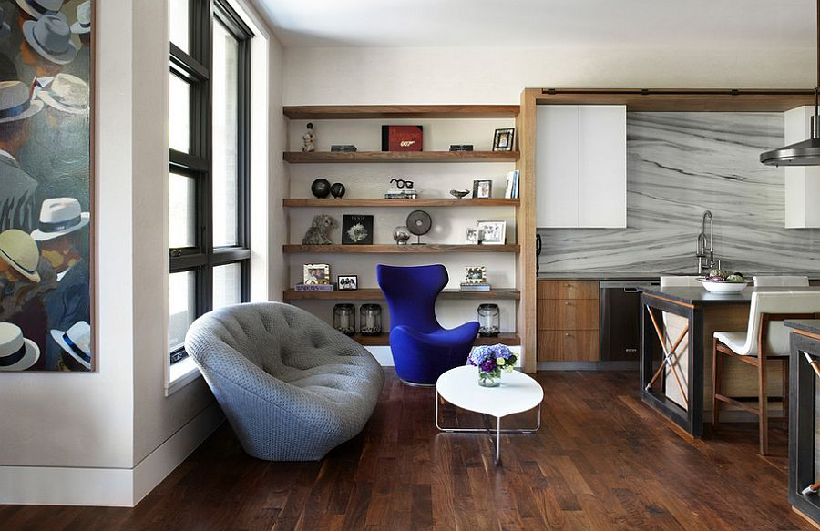 Contemporary living room in Chicago with comfy seating [Design: Morgante Wilson Architects]