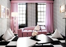 Contemporary living room with pretty pink pastel tones