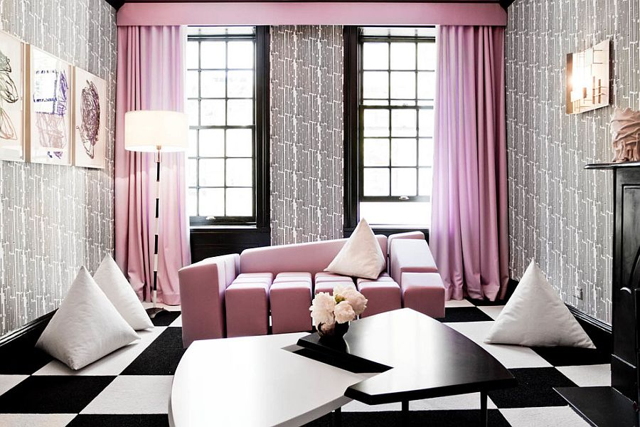 Contemporary living room with pretty pink pastel tones [Photography: Rikki Snyder]