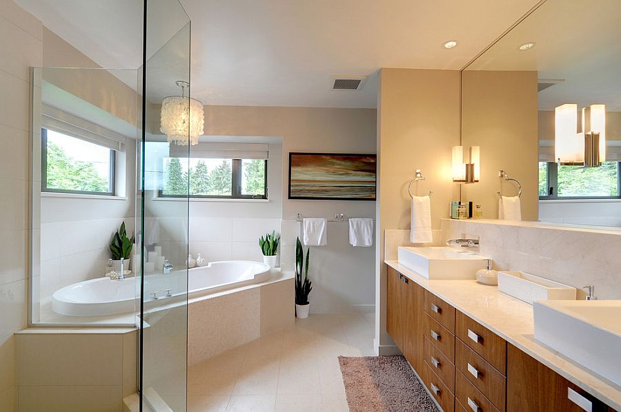 Contemporary master bath with a corner bathtub [Design: Meister Construction]